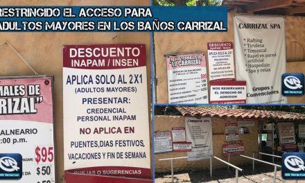 Restringido el acceso para adultos mayores a Baños Carrizal, Veracruz