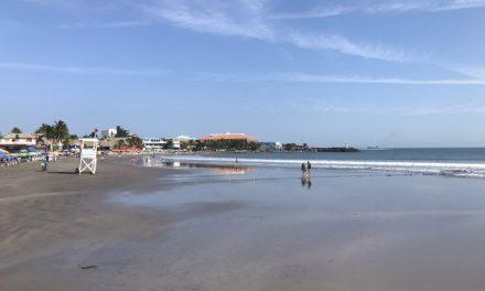 Fenómeno conocido como mar de fondo y marea baja en costas veracruzanas